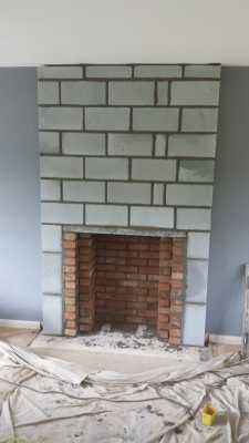 fireplace depth extended, with brick chamber